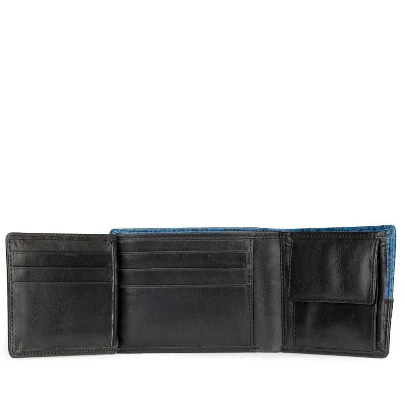 Blue-Black Croco Print Leather Mens Wallet