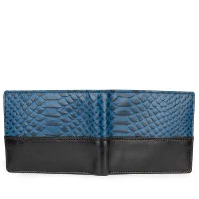 Blue-Black Croco Print Leather Mens Wallet