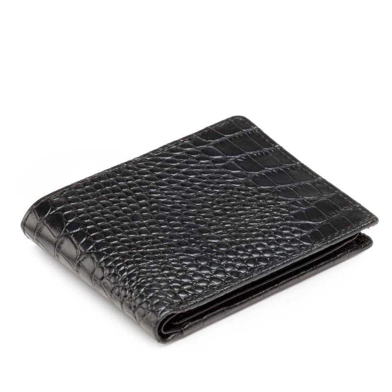 Black Croco-Print Leather Mens Wallet