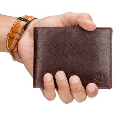 Brown Textured Leather Mens Wallet