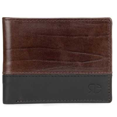 Brown-Black Textured Leather Mens Wallet