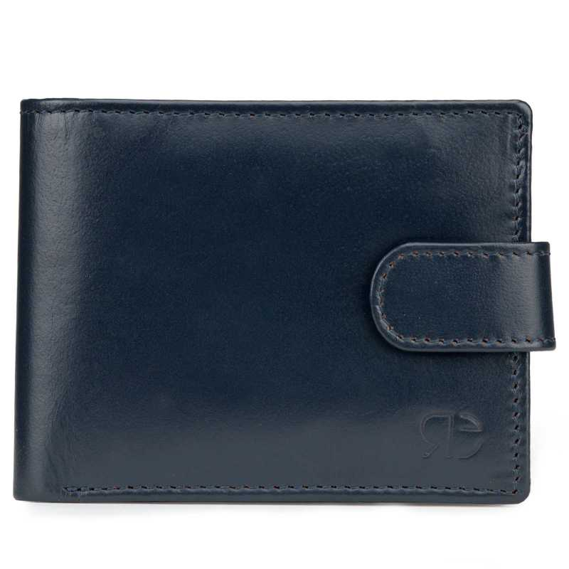 Blue Plain Leather Mens Wallet with Flap Button Closure