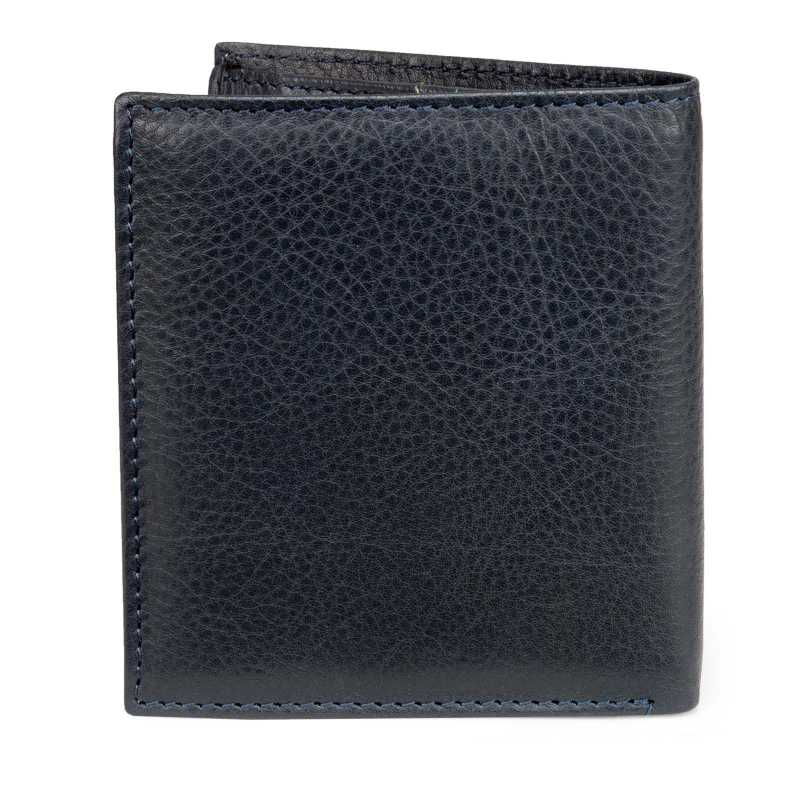 Dark Blue Textured Soft-Leather Mens Wallet