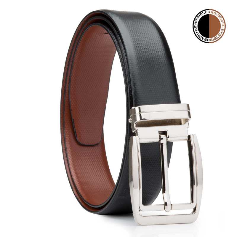 Black and Brown Pentafloor Design Leather Mens Formal Belts