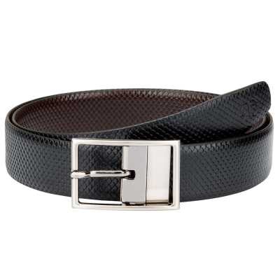 Black and Brown Fish Design Leather Men's Formal Belts