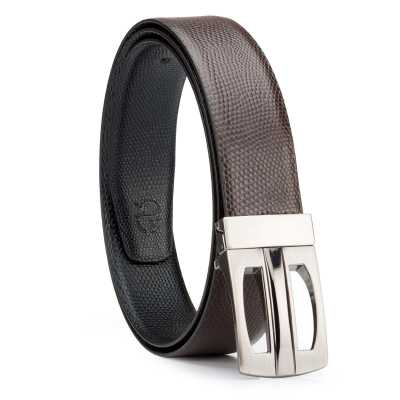 Black and Brown Lizard Design Leather Men's Formal Belts
