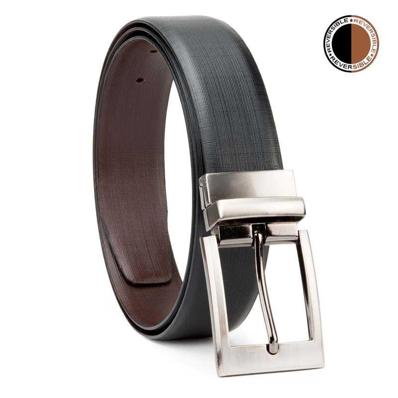 Black and Brown Cross Linner Design Leather Men