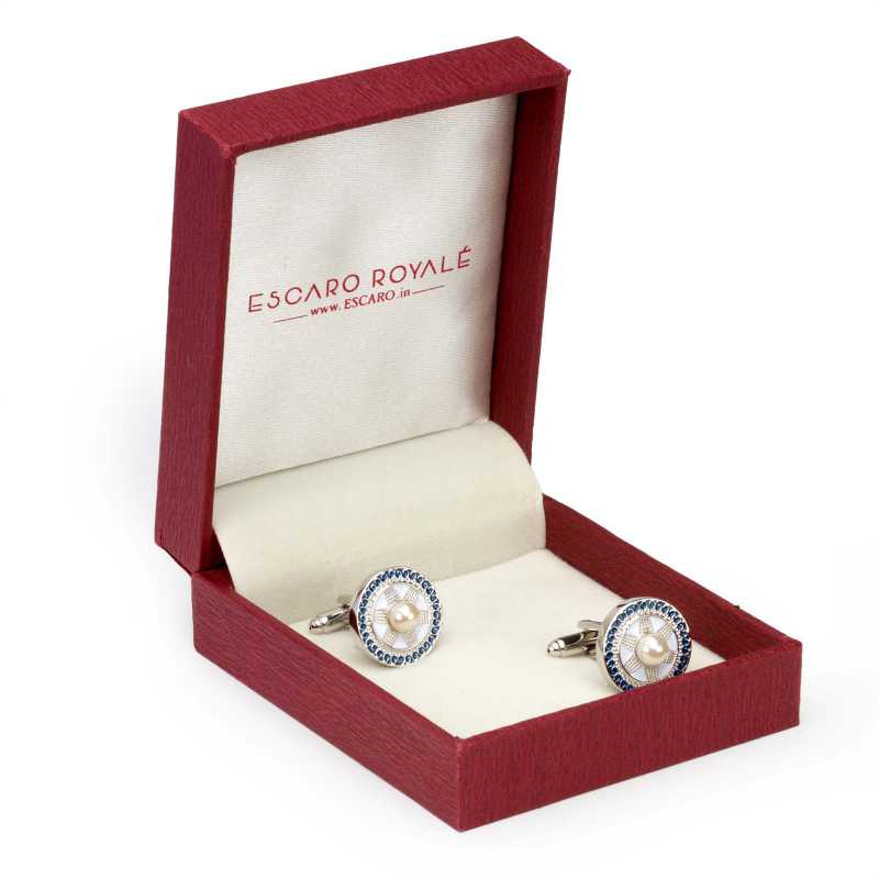 Men's Silver Plated Enamel Engraving Cufflinks