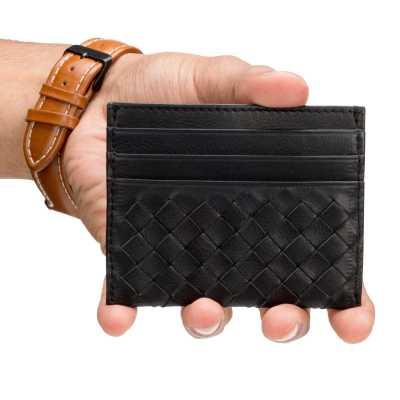 Black Leather Mens Basket Weave Design Luxury Card Holder
