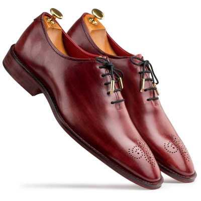 Wine Wholecut Oxford Shoes