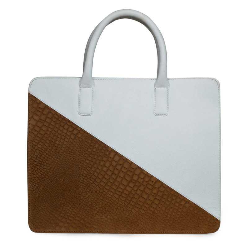 White-Tan Leather Portfolio Bag