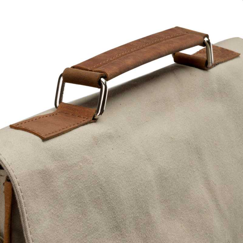 Khaki Canvas-Leather Messenger Bag