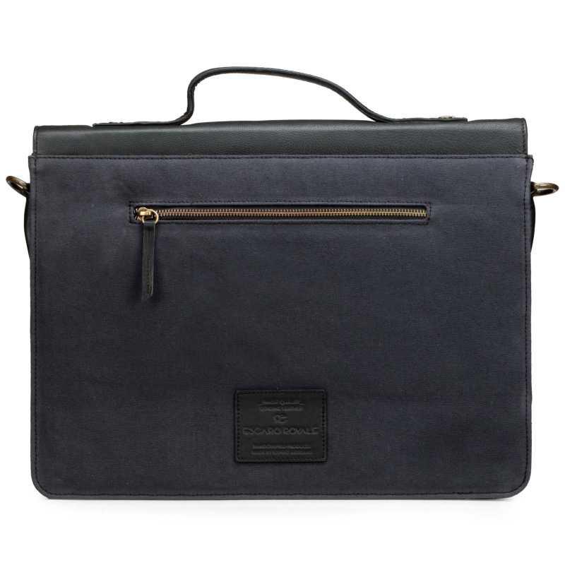 Canvas-Leather Parisian Print Portfolio Bag