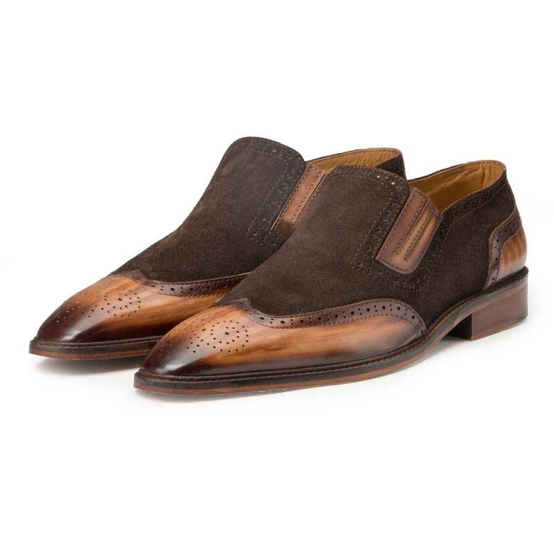 Brown-Tan Wingtip Slip On