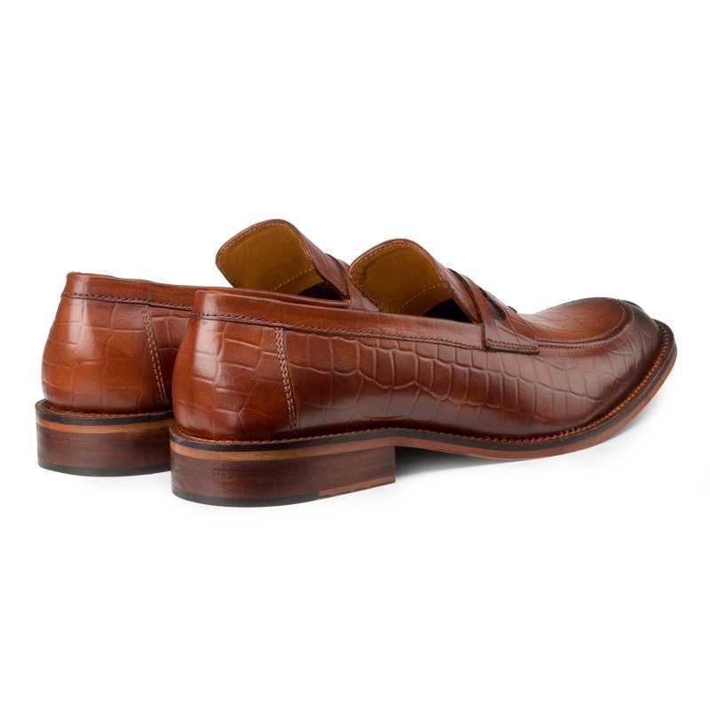 Tan Croc-Embossed Slip-on