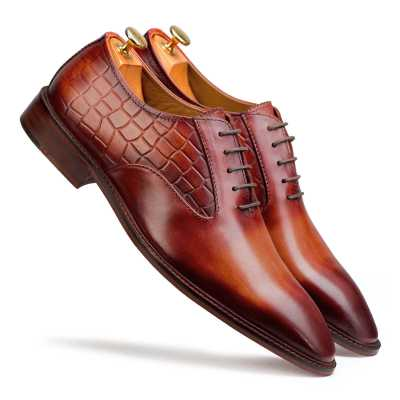 Orange-Tan Burnish Croc Oxford