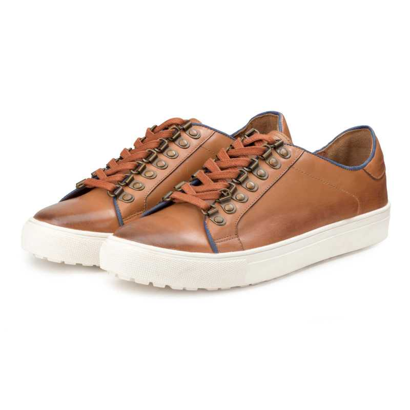 Tan Low-Top Leather Sneakers