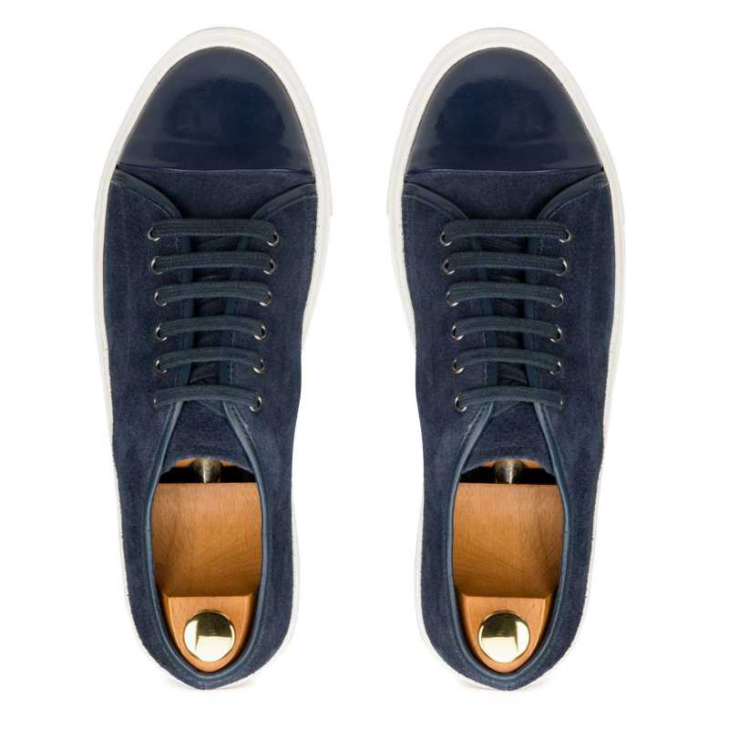 Blue Low-Top Leather Sneakers