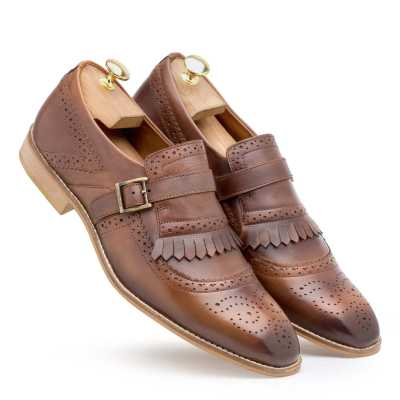 Burnished-Brown Genuine Leather Kiltie Monkstrap shoes