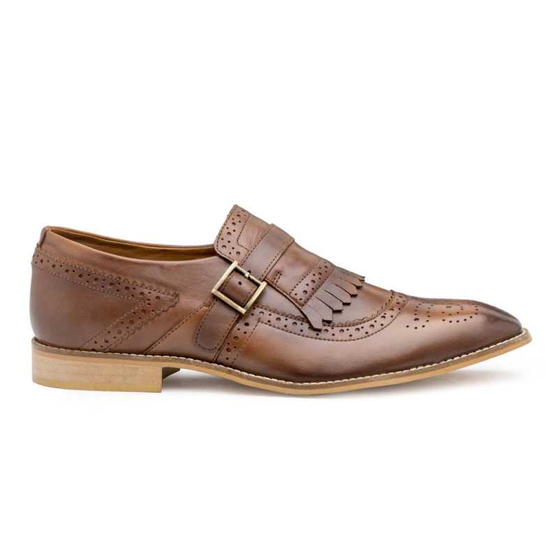 Burnished-Brown Full Grain Leather Kiltie Monkstrap shoes
