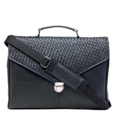 Black Genuine Leather Weave Pattern Portfolio Bag
