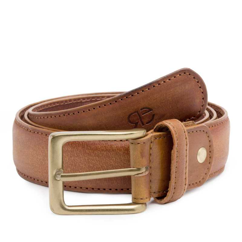 Tan Wooden-finished Leather Belt