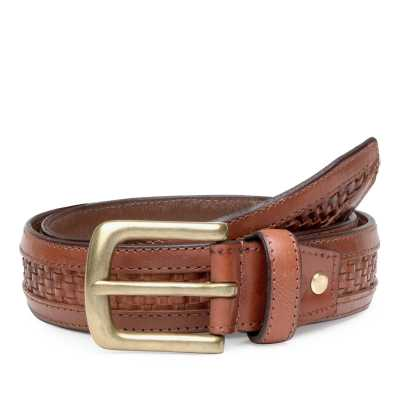 Brown Woven Leather Belt