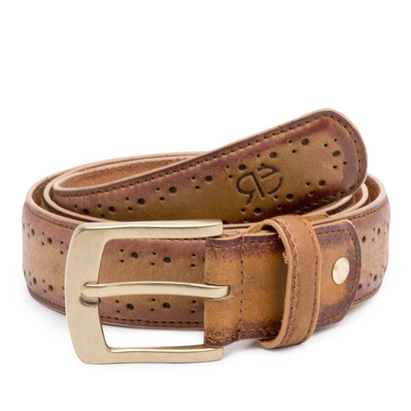 Brown burnished Brogue Leather belt