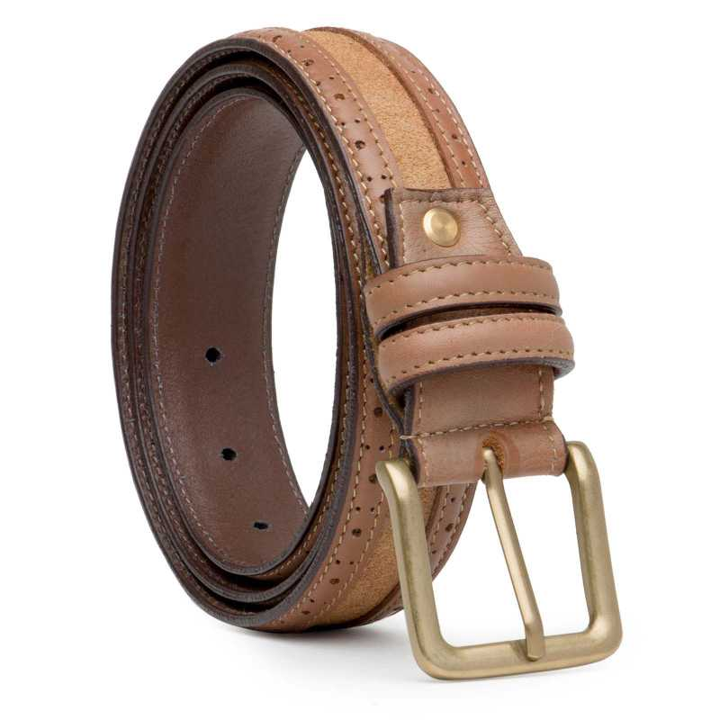 Brown Suede-Leather Brogue belt