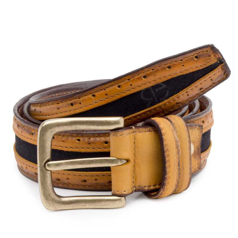 Tan-Blue Suede-Leather Brogue belt