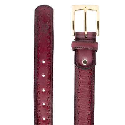 Wine burnished Brogue Leather belt