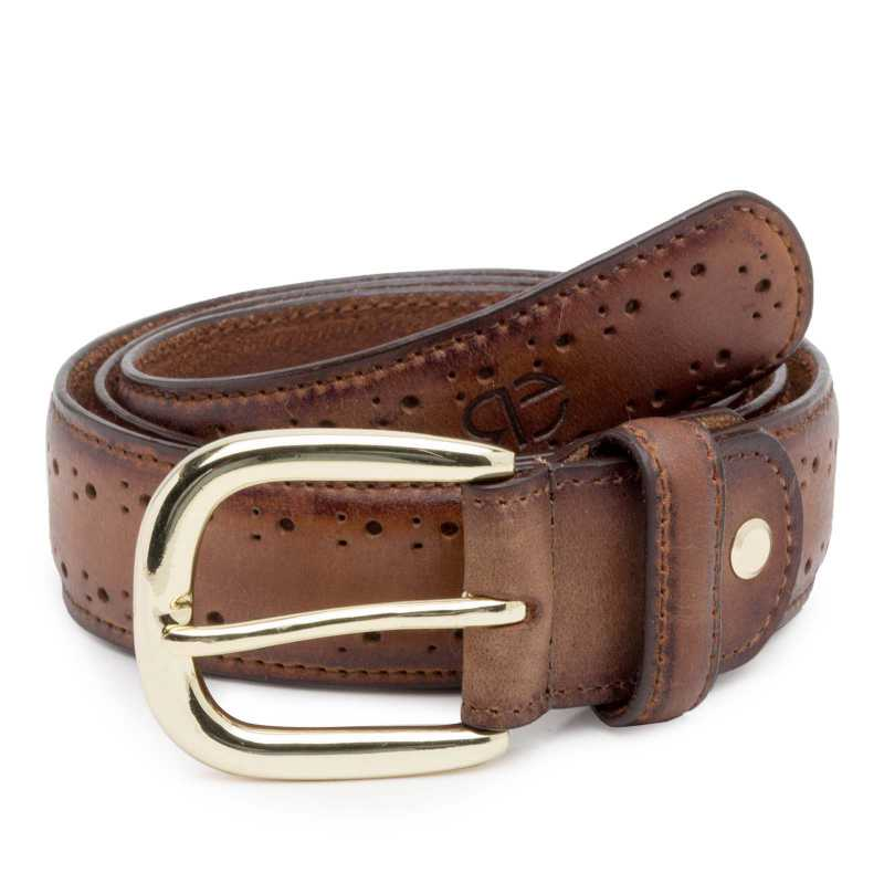 Dark Brown burnished Brogue Leather Belt