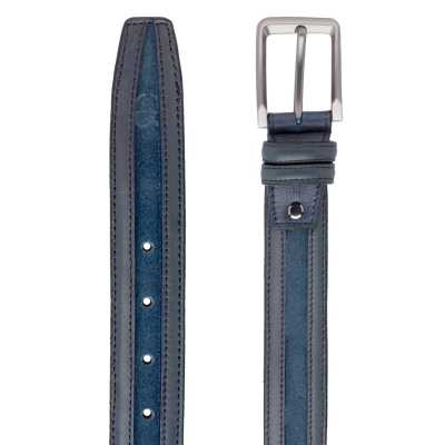 Blue Suede-Leather Belt