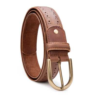 Tan Brogue Leather Belt