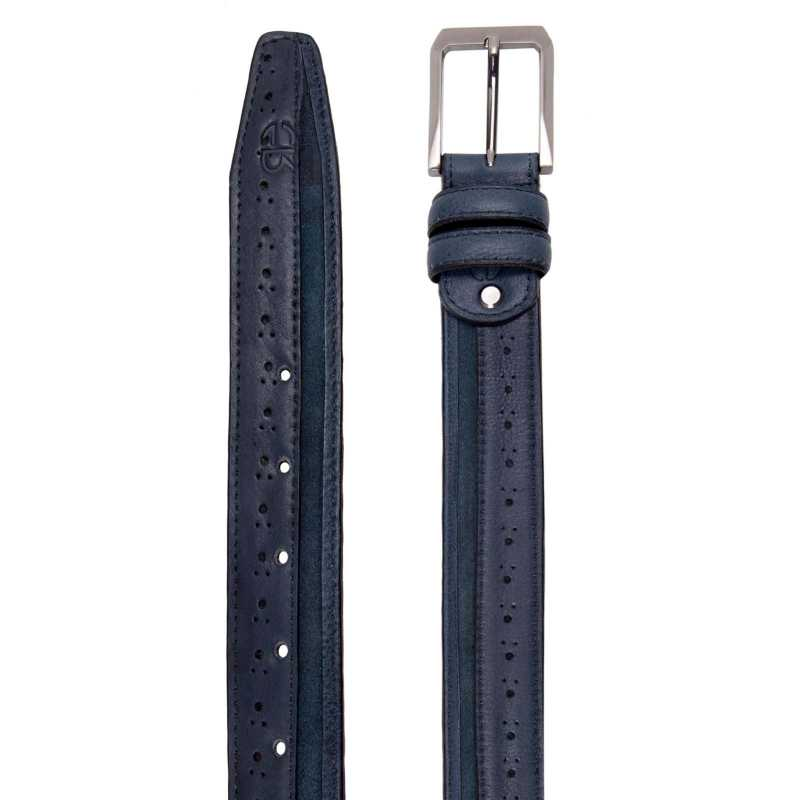 Blue Brogue Suede Belt - Escaro Royale