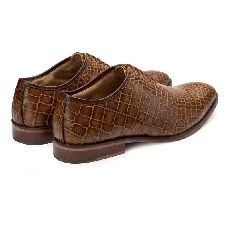 Tan Croc Textured Oxford shoes