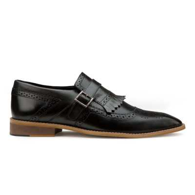 Black Genuine Leather Kiltie Monkstrap shoes