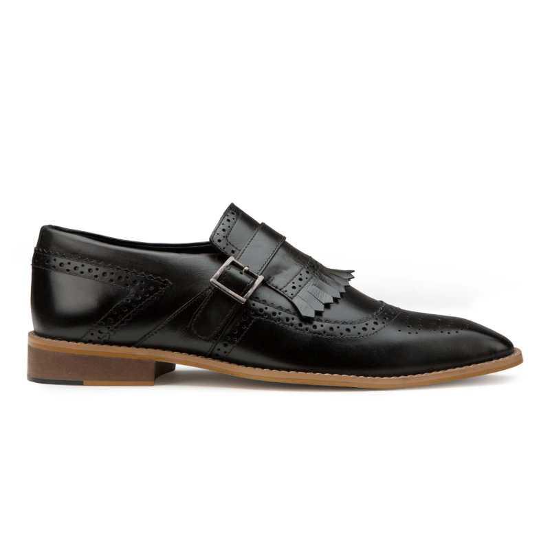 Black Genuine Leather Kiltie Monkstrap shoes