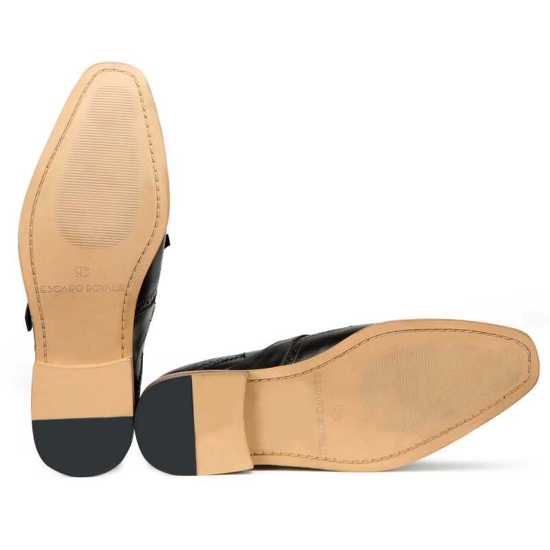 Black Full Grain Leather Kiltie Monkstrap shoes