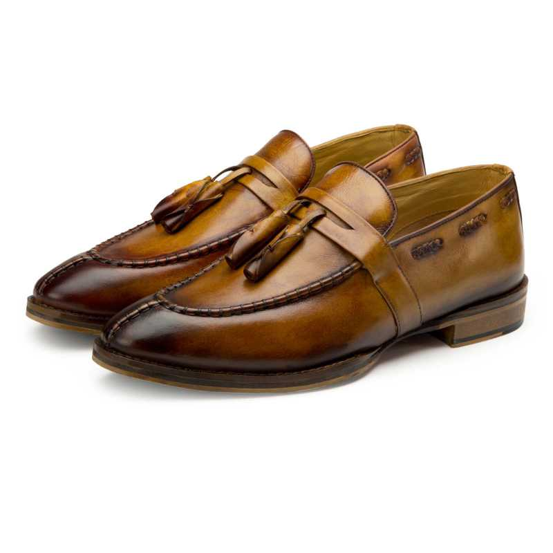 Tan Tassel Penny Loafers