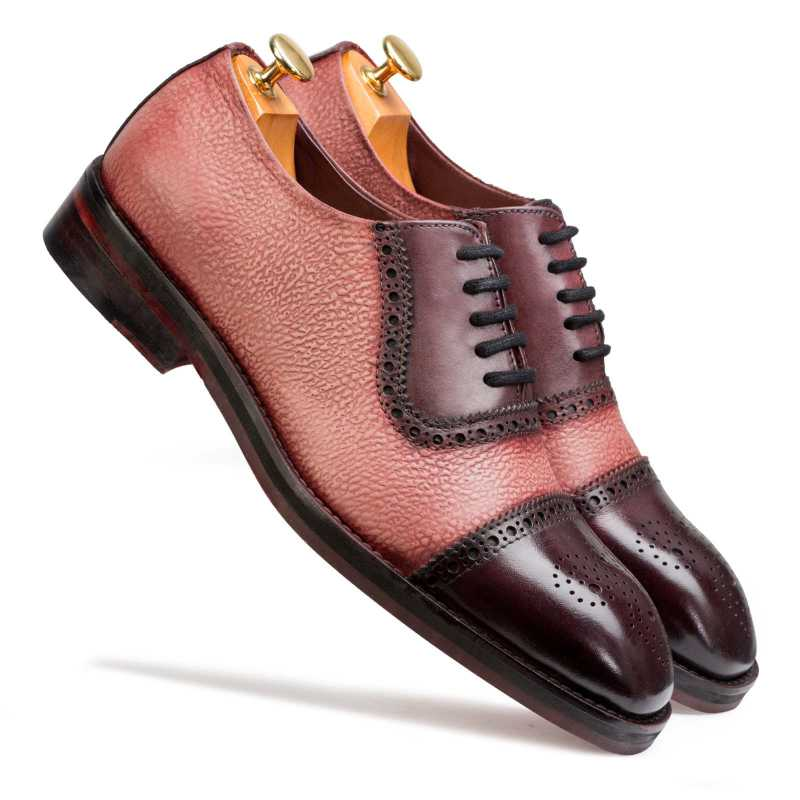 """Carlo"" Medallion Captoe Dual-Textured Cherry Oxford"