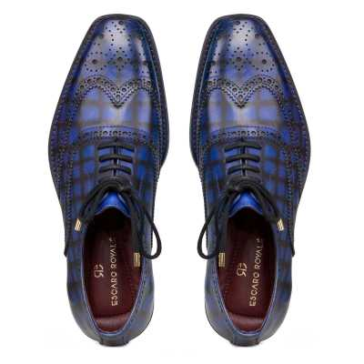 """""""Corleone"""" Handpainted Check Blue Brogues"""
