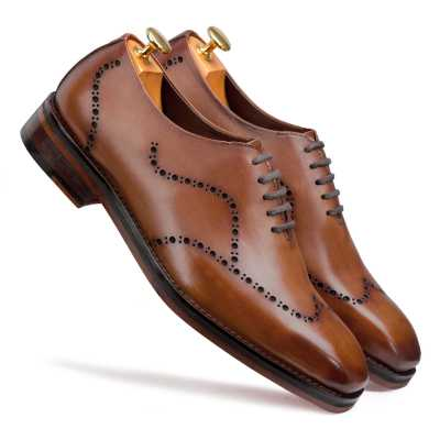 """Michael"" Wholecut Dark Tan Wingtip Oxford"