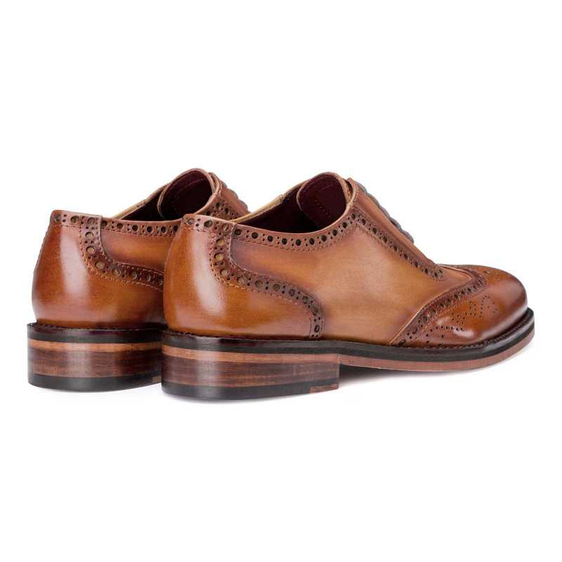 """Tessio"" Dual-Shade Burnished Tan Wingtip Brogues"