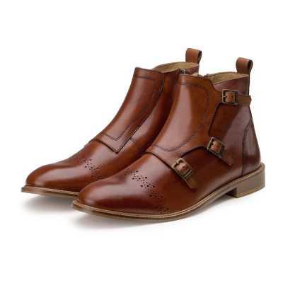 """Sonny"" Tan Triple Monkstrap Ankle Boots"
