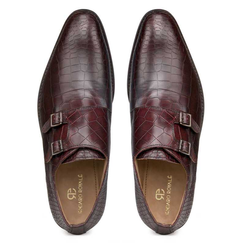 """Enzo"" Croc Textured Dark-Cherry Double Monkstrap"