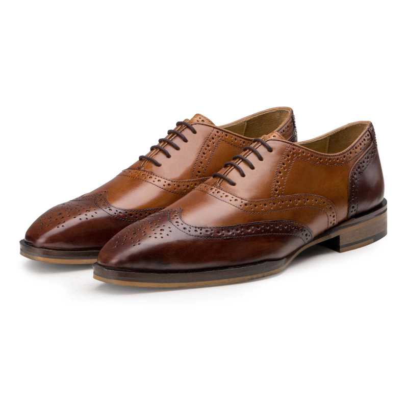 """The Don"" Sleek Tan-Burgundy Wingtip Brogues"