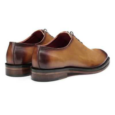 Tan Burnished Handpainted Wholecut Oxford