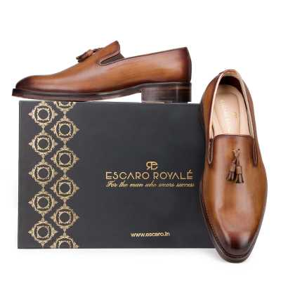 Handpainted Tan Tassel Loafer