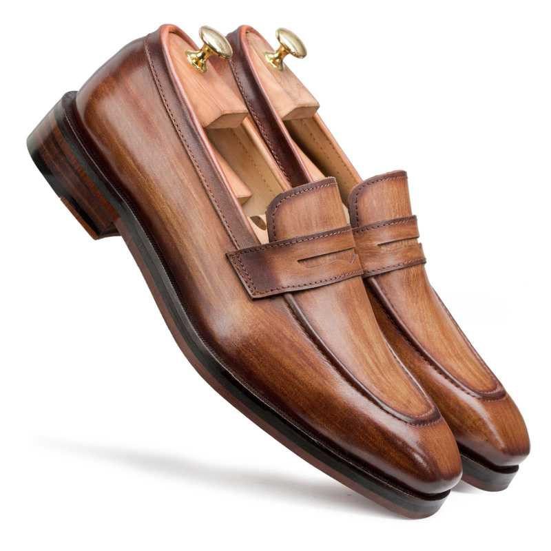 Wooden Finish Handpainted Tan Penny Loafer - Escaro Royale